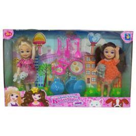 """1toy """"Красотка mini"""" Игр.набор из 2х кукол 13 см с посудкой и 2 питомцами,26х16 см, кор."""