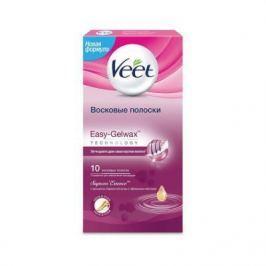 VEET Восковые полоски для чувствительных участков тела бикини и подмышек с ароматом бархатной розы и эфирными маслами c Easy Gel-wax 14 шт