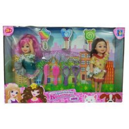 "1toy ""Красотка mini"" Игр.набор из 2х кукол 13 см с аксесс-ми для красоты и 2 питомцами,26х16 см.,кор."