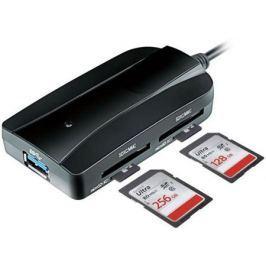 Картридер внешний Ginzzu GR-317UB USB 3.0-SDXC/SD/SDHC/MMC/MS/microSD/M2 + 3xUSB 3.0 HUB черный
