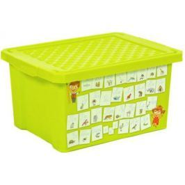 """Littel Angel Детский ящик для хранения игрушек """"X-BOX"""" """"Обучайка"""" Азбука 17л салатовый"""