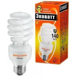 Лампа энергосберегающая ECOWATT SP 28W 827 E27 тёплый белый свет витая, люминисцентная.