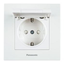 Механизм розетки PANASONIC WKTT0210-2WH-RES Karre Plus с/з с крышкой белая