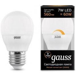 Лампа светодиодная шар Gauss 105102107-D E27 7W 3000K