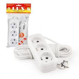 Удлинитель сетевой LUX У3-Е-05 белый 3-местный с заземлением, 220В 16А, 5м (30)