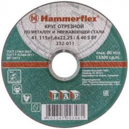 115 x 1.6 x 22,23 A 40 S BF Круг отрезной Hammer Flex 232-011 по металлу и нержавеющей стали