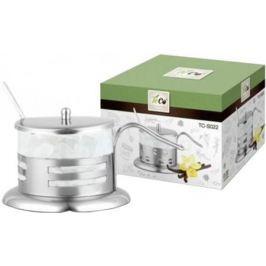 022S-TC-3((полоска) Сахарница TECO из стекла и нержавеющей стали (200мл)