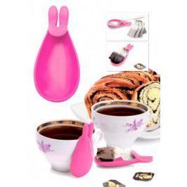 Держатель чайных пакетиков и ложки «КРОЛИК», розовый TK 0234