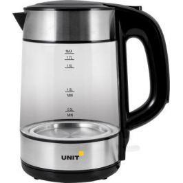 Чайник электрический UNIT UEK-273, стекло, 1.7л., 2000Вт. (Черный)