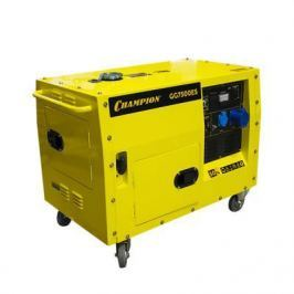 Генератор CHAMPION GG7500ES 5.5/6кВт OHV420 16лс 15л 126кг 2.5л/ч 12V эл.старт колеса шумозащита