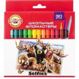 Набор фломастеров школьных SELFIES, 30 цветов, картонная коробка