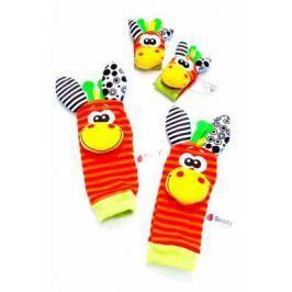 Набор детских носочков и напульсников с погремушками «ЗАБАВНЫЕ ЗВЕРЮШКИ» DE 0126
