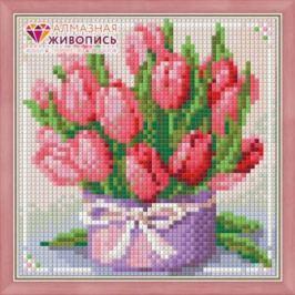 Алмазная живопись Тюльпаны в подарок 15х15