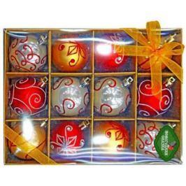 Набор шаров Новогодняя сказка 6 см, 12 шт., ассорти красн.+зол.+перл.