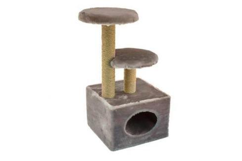 Домик ЧИП 8348к когтеточка 3-х уровневый квадратный ковролин для кошек (43*35*71) Домики с когтеточкой