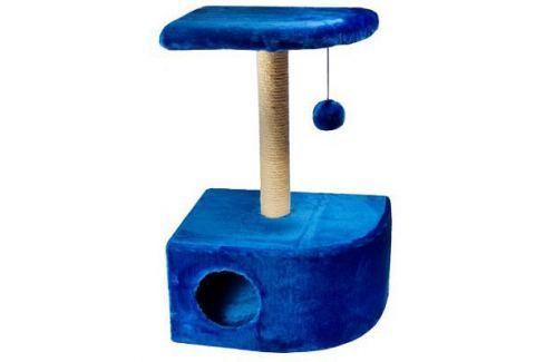 Домик RP8112дс угловой (34,5*47,5*80,5) джут синий для кошки Домики с когтеточкой