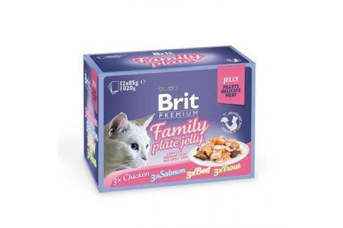 Влажный корм Brit Premium Семейная тарелка кусочки в желе набор паучей для кошек, 12шт * 85г. Влажный корм