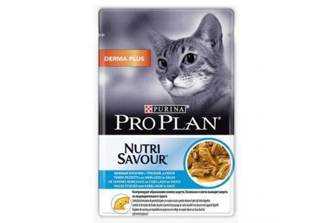Влажный корм Pro Plan Nutri Savour Derma Plus в соусе для кошек для выведение комочков шерсти, 85г Влажный корм