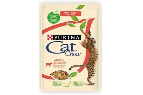 Влажный корм Cat Chow Adult говядина + баклажаны в желе для кошек, 85г. Влажный корм