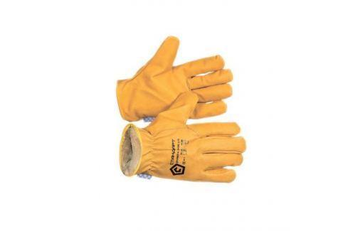 Перчатки из спилка желтого утепленные Перчатки