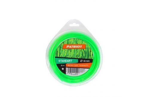 Леска PATRIOT Standart 1.6*15м. звезда, зеленая 165153 Для триммеров