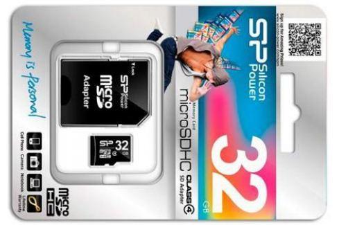 Карта памяти Micro SDHC 32GB Silicon Power Class 4 + адаптер SD (SP032GBSTH004V10-SP) Карты памяти