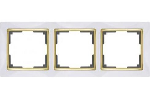Рамка Snabb на 3 поста белый/золото WL03-Frame-03-white/GD 4690389083921 Рамки