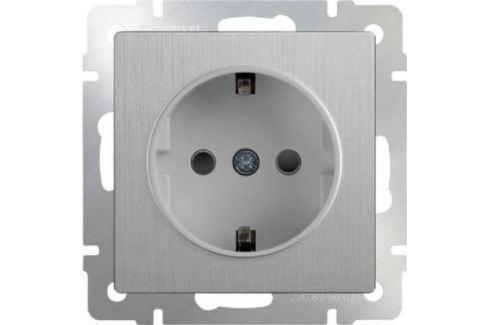 Розетка с заземлением серебряная рифленая WL09-SKG-01-IP20 4690389085079 Розетки