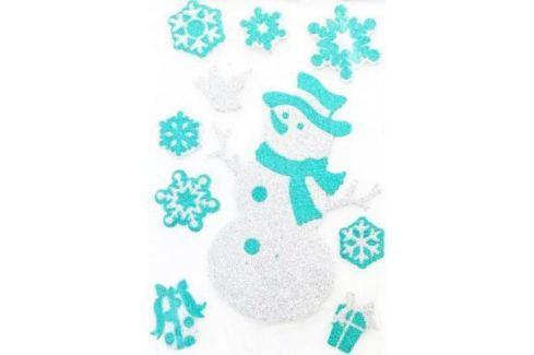 Наклейка Winter Wings панно Снеговик, прозрачная цветная с блестящей крошкой, 20х30 см Атрибуты для праздника