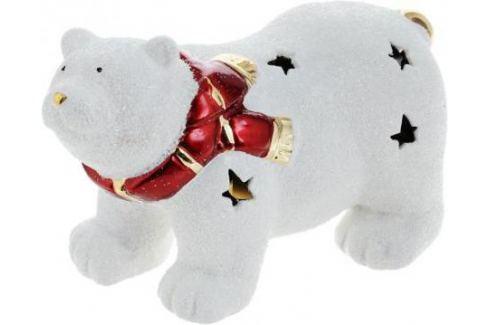 Подсвечник Winter Wings Мишка полярный в шарфе, керамика, светящийся 16 см N161689 Сервировка стола и свечи