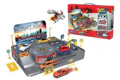 Игровой набор Гараж Welly включает 3 машины и вертолет 96010 Гаражи, парковки, треки