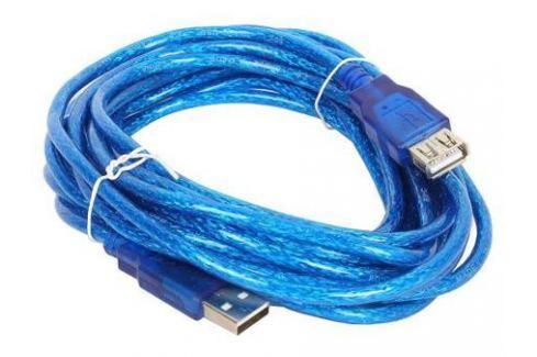 Кабель удлинительный USB 2.0 AM-AF 5.0м VCOM Telecom прозрачная изоляция голубой VUS6956T-5MTBO Интерфейсные кабели
