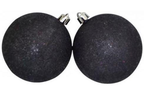 Набор шаров Winter Wings с блестящей крошкой, в связке черный 8 см 2 шт пластик N181127 Елочные украшения